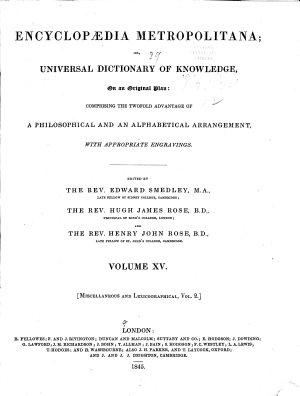 Encyclopaedia Metropolitana  Plates to Mixed Sciences  Vol  5 and 6