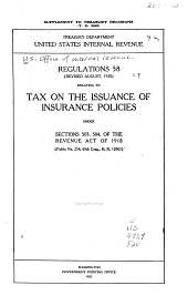 Regulations No. 58 (Revised Aug.,1920) Relating to the Tax on the Issuance of Insurance Policies Under Sections 503, 504 of the Revenue Act of 1918, (suppl.)
