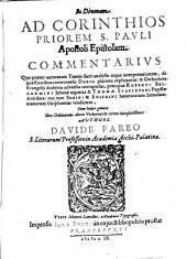 In Divinam ad Corinthios priorem S. Pauli Ap. epistolam Commentarius