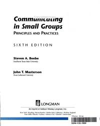 Communicating in Small Groups Book