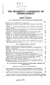 Report of the President's Conference on unemployment: September 26 to October 13, 1921