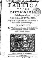 Fabrica  overo  Dittionario della lingua volgare arabica et italiana PDF