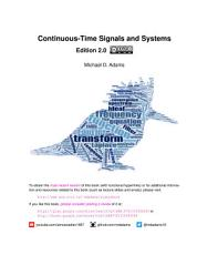 Continuous Time Signals and Systems  Edition 2 0  PDF