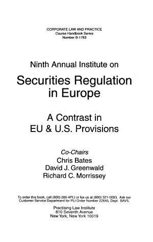 PLI s Annual Institute on Securities Regulation in Europe PDF