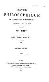 Revue philosophique de la France et de l'étranger: Volume19