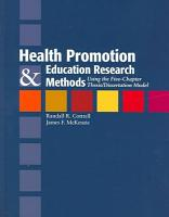 Health Promotion and Education Research Methods PDF