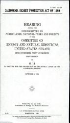 California Desert Protection Act of 1989 PDF
