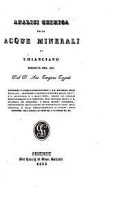Analisi chimica delle acque minerali di Chianciano eseguita nel 1832