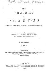 The Comedies of Plautus: Volume 1