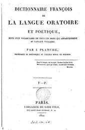 Dictionnaire françois de la langue oratoire et poétique