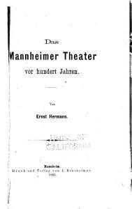 Das Mannheimer Theater vor hundert Jahren PDF