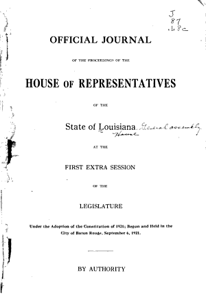 Official Journal of the Proceedings of House of Representatives of the State of Louisiana PDF