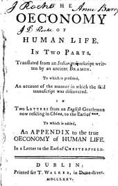 The oeconomy of human life. To which is added, an Appendix