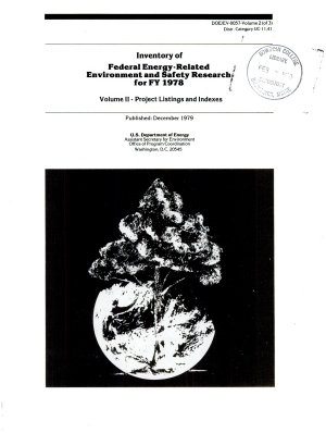 Inventory of Federal Energy-related Environment and Safety Research for ...