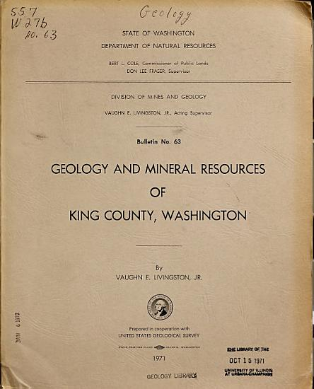 Geology and Mineral Resources of King County  Washington PDF