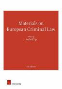 Materials on European Criminal Law PDF
