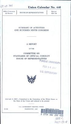 Summary Of Activities One Hundred Ninth Congress
