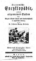 Oeconomische Encyklop  die  oder allgemeines System der Staats Stadt Haus  und Landwirthschaft  in alphabetischer Ordnung PDF