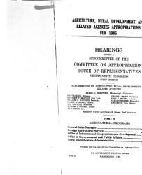Agriculture  rural development  and related agencies appropriations for 1986 PDF