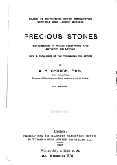Precious Stones Considered in Their Scientific and Artistic Relations: With a Catalogue of the Townshend Collection