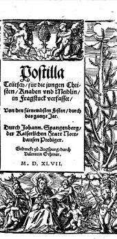 Postilla Teütsch: für die jungen Christen Knaben vnd Meidlin in Fragstuck verfasset Von den fürnembsten Festen durch das gantze Jar
