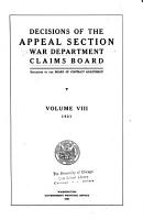 Decisions of the Appeal Section  War Department  Claims Board PDF