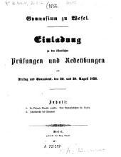 Einladung zu den öffentlichen Prüfungen: 1856