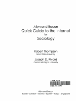 Allyn and Bacon Quick Guide to the Internet for Sociologists PDF
