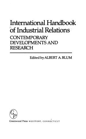 International Handbook of Industrial Relations PDF