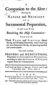 A Companion to the Altar, etc
