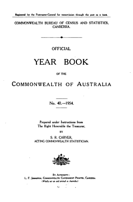 Official Year Book of the Commonwealth of Australia No  40   1954 PDF