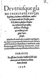 De utriusque Gladii facultate ... axioma catholicum