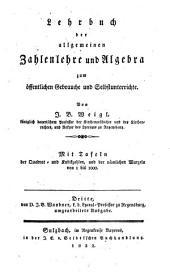 Lehrbuch der Arithmetik und Algebra: zum öffentlichen Gebrauche und Selbstunterrichte. ¬Die allgemeine Zahlenlehre und Algebra, Band 2