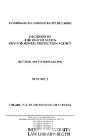 Decisions of the United States Environmental Protection Agency: Volume 3