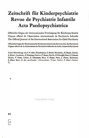 Zeitschrift f  r Kinderpsychiatrie