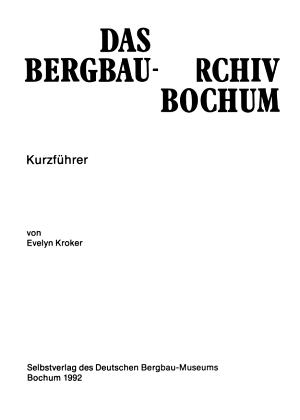 Das Bergbau Archiv Bochum PDF