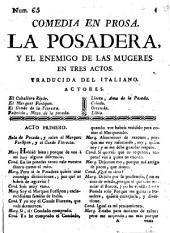 Comedia en prosa, La Posadera y el enemigo de las mugeres: en tres actos
