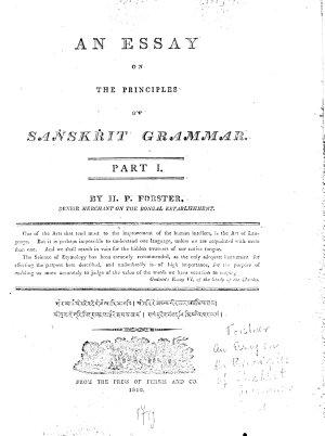 An Essay on the Principles of Sanskrit Grammar
