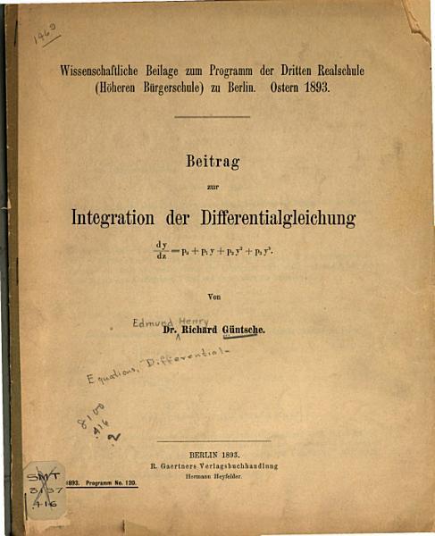 Beitrag zur Integration der differentialgleichung dy dz