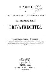 Handbuch des in Oesterreich geltenden internationalen Privatrechts