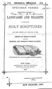 Specimen verses from versions in different languages and dialects: in which the Holy Scriptures have been printed and circulated by the American Bible Society and the British and Foreign Bible Society