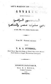 Abu'l-Mah̲asin ibn Tagri Bardii Annales: quibus titulus est al-Nujūm al-zāhirah fī mulūk Miṣr wa-al-Qāhirah e codd. mss. nunc primum Arabice editi, المجلد 2،العدد 1
