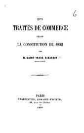 Des Traités de Commerce selon la Constitution de 1852