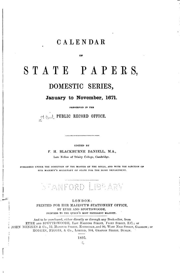 Calendar of State Papers, Domestic Series, of the Reign of Charles II