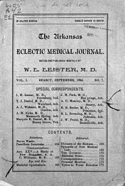 Arkansas Eclectic Medical Journal PDF