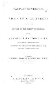 Factory Statistics. The official tables appended to the report of the Select Committee on the Ten-Hours Factory Bill vindicated in a series of letters, etc