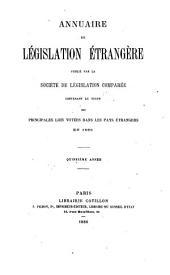 Annuaire de législation étrangère: Volume15