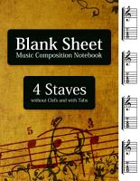 Blank Sheet Music Composition Notebook   4 Staves without Clefs and with Tabs PDF
