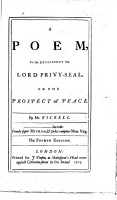 A Poem to His Excellency the Lord Privy Seal  on the Prospect of Peace     The fourth edition PDF