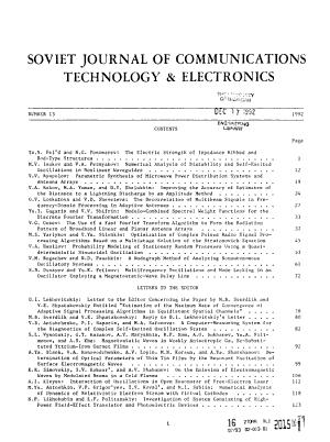 Soviet Journal of Communications Technology   Electronics PDF